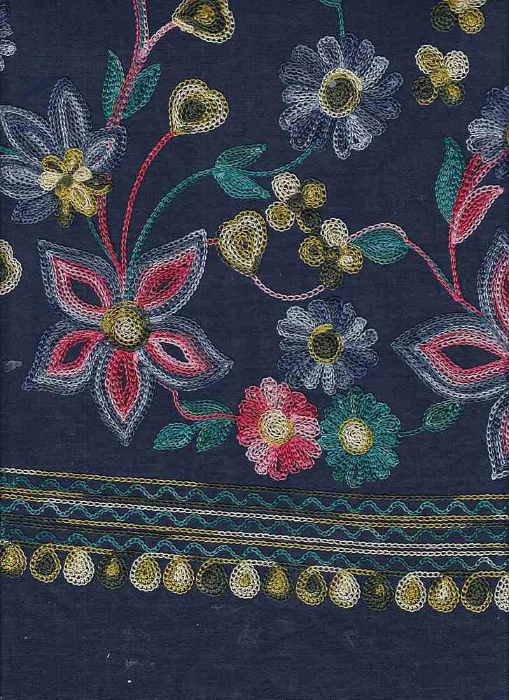 19449 / NAVY / Multi Embroidery DOUBLE Border