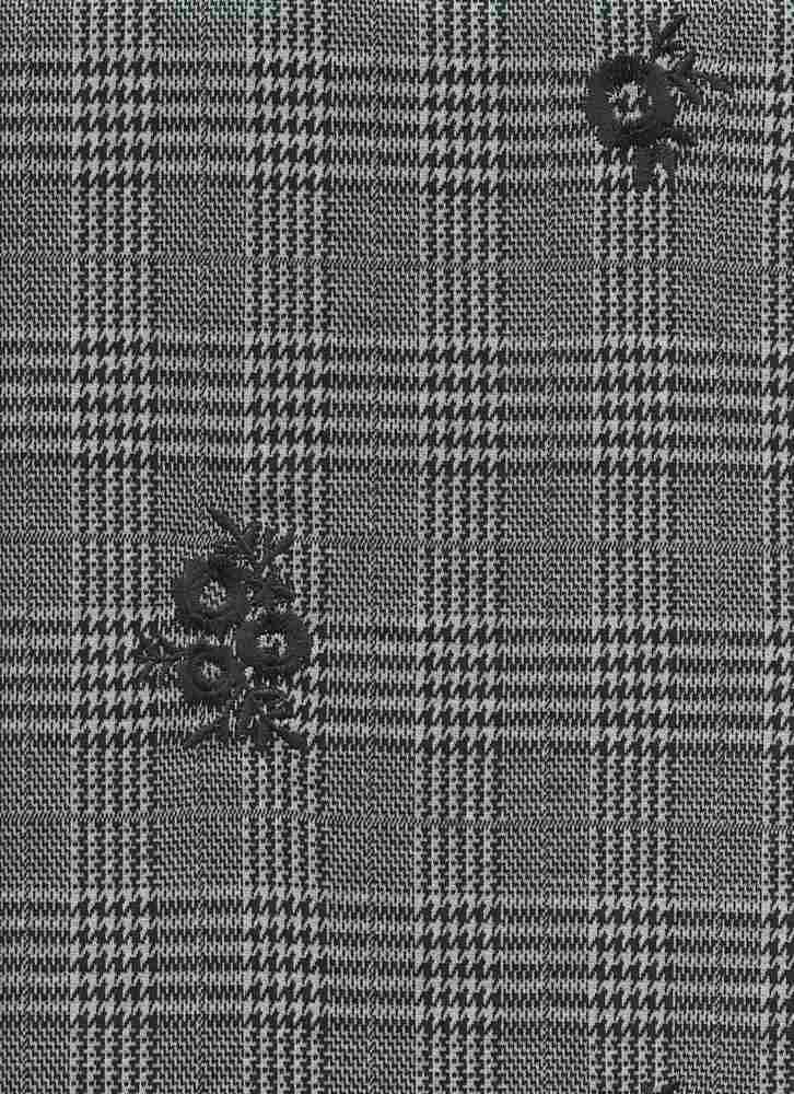 19476 / BLACK / HOUNDSTOOTH MIX PLAID W/ FLOWER EMBROIDERY