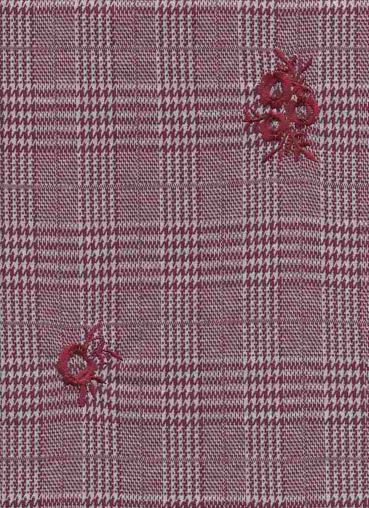 19476 / ELDERBERRY / HOUNDSTOOTH MIX PLAID W/ FLOWER EMBROIDERY