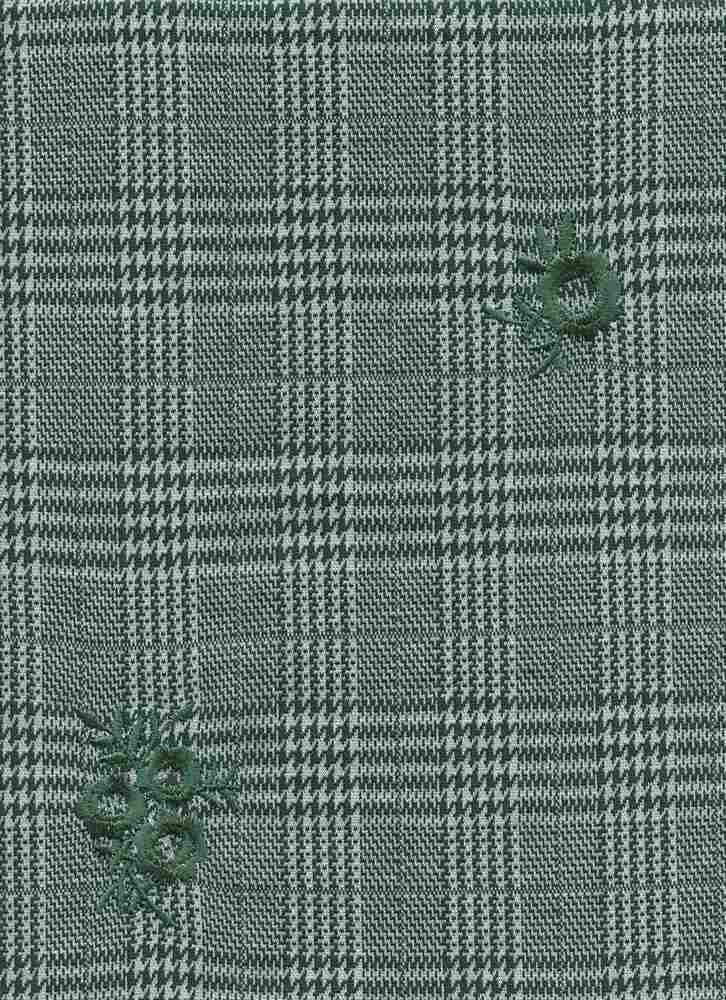 19476 / SPRUCE / HOUNDSTOOTH MIX PLAID W/ FLOWER EMBROIDERY