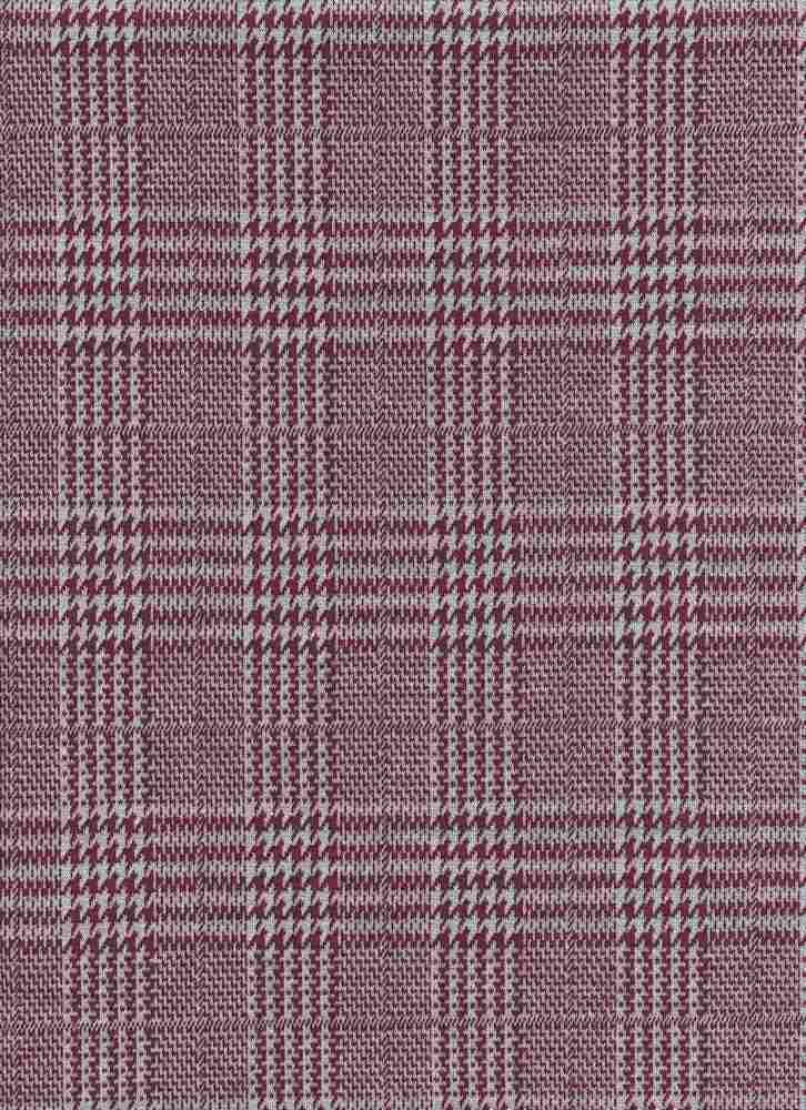 19476-A / ELDERBERRY / HOUNDSTOOTH MIX PLAID