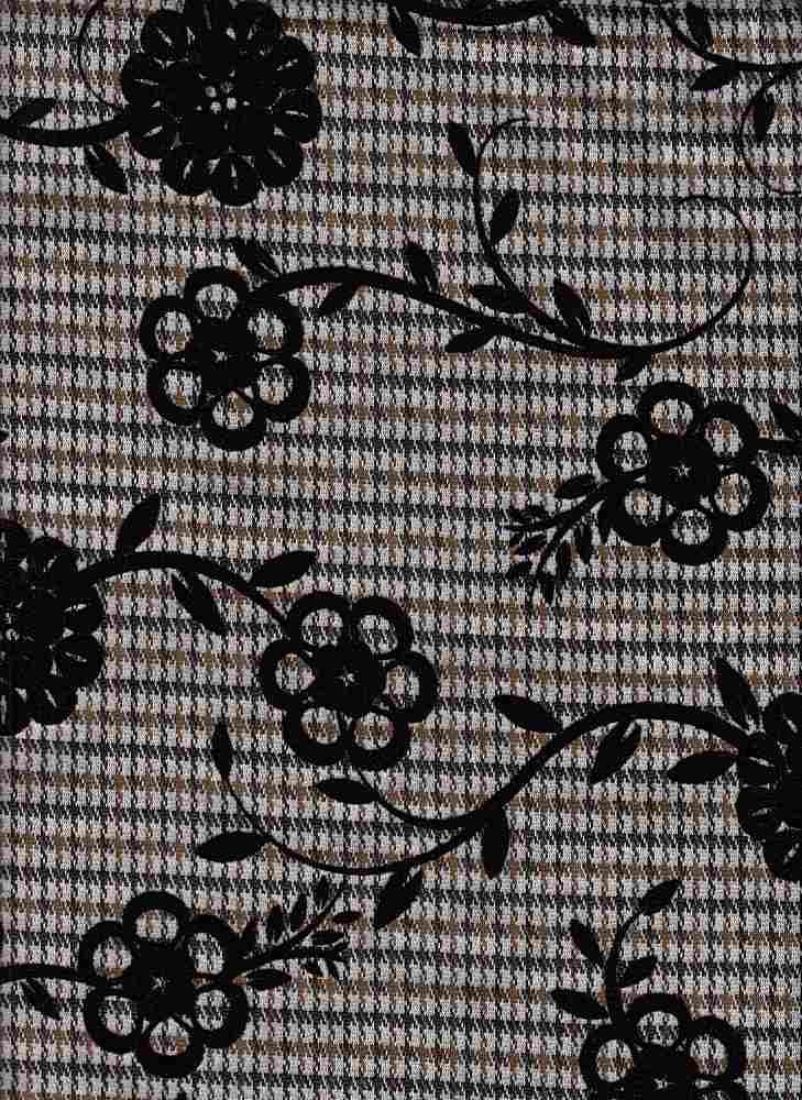 19477 / BROWN/TAN / MINI PLAID W/ CHAIN FLOWER FLOCKING