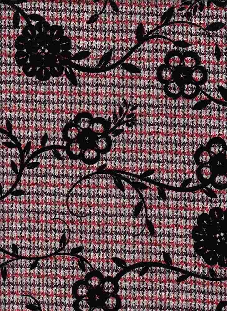19477 / BLACK/RED / MINI PLAID W/ CHAIN FLOWER FLOCKING