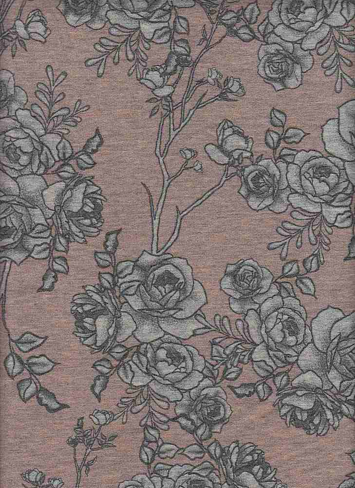 PFLR 10024-A / ROSE DUST / SMOKEY FLORAL PRINT ON BABY FRENCH TERRY H.G.
