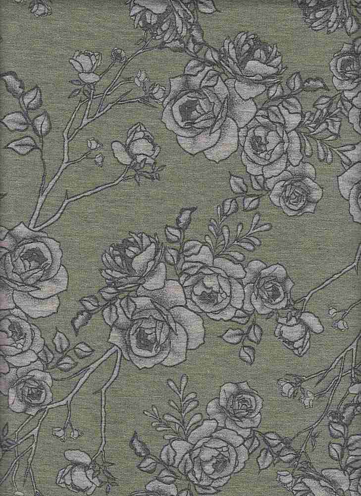PFLR 10024-A / FERN / SMOKEY FLORAL PRINT ON BABY FRENCH TERRY H.G.
