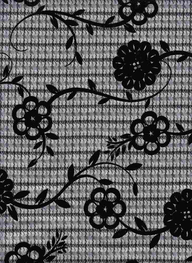 19477 / BLACK/GRAPHITE / MINI PLAID W/ CHAIN FLOWER FLOCKING