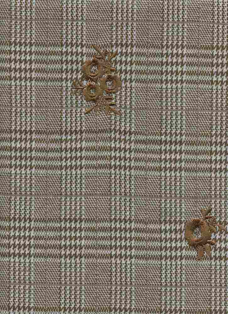 19476 / COPPER / HOUNDSTOOTH MIX PLAID W/ FLOWER EMBROIDERY