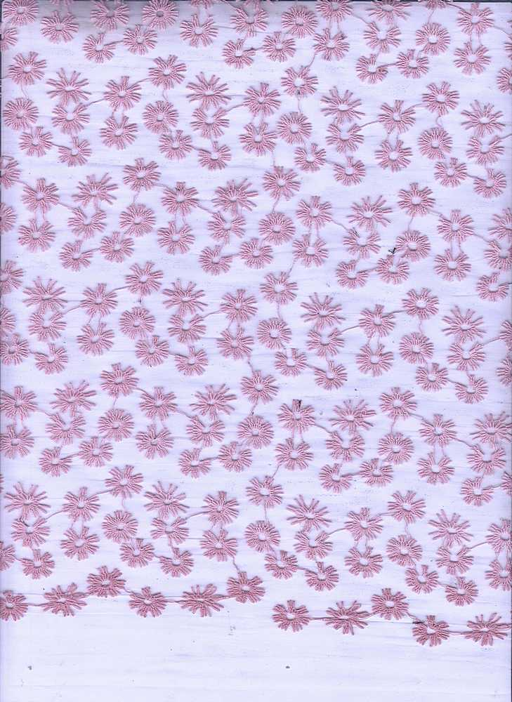 14093 / DUSTY ROSE / EMBROIDERED ORGANZA DAIZY