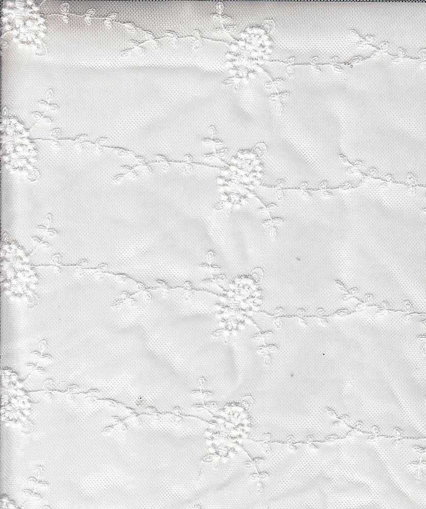 14095 / WHITE / NYLON COTTON EMBROIDERY MESH